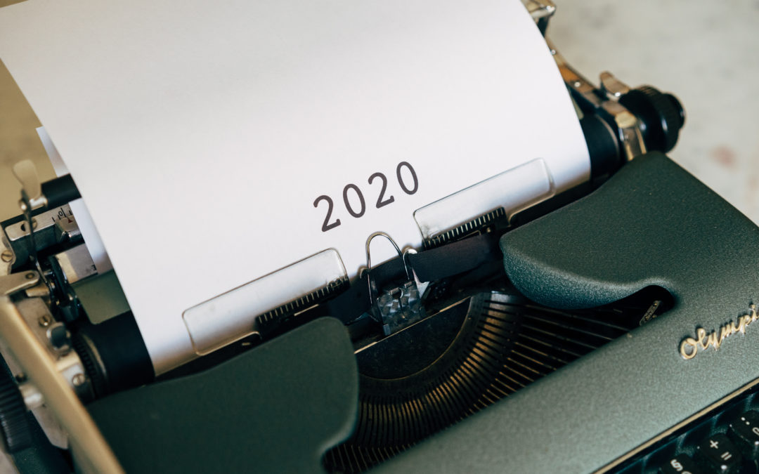 2020 on White Printer Paper on Black Typewriter